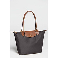 NEW AUTHENTIC LONGCHAMP LE PLIAGE MEDIUM NYLON TOTE 2605089 GUNMETAL GRAY