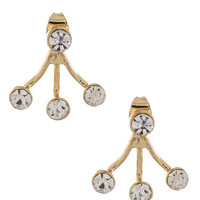 Triple Jeweled Double-Sided Ear Jackets (Gold)