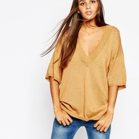 Monki Knitted Plunge Neck Tunic