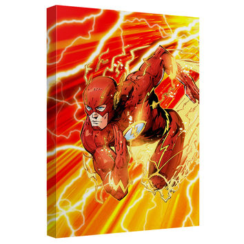 The Flash Lightning Dash Stretched Canvas Wall Art