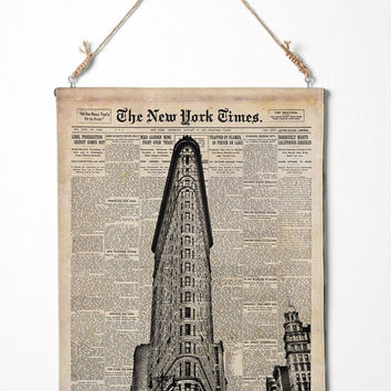 "Flat Iron building on New York Times paper. NYC wall art Canvas Wall Hanging. 12.5"" x16.5"""
