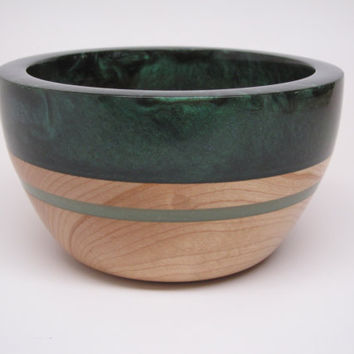 Hard Wood Maple Bowl with a Green Pearl Top & Lite Green Inlay