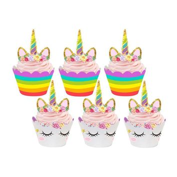 72pcs/set Unicorn Party Unicornio Horn Cake Topper Cupcake Wrappers Baby Shower Kids Birthday Party Supplies Cake Decoration