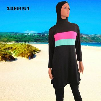 XREOUGA New Hijab Muslim Swimwear islamic bathing suit Modest Full Coverage Swimming Suit Women Swimsuit Swimwear MS11