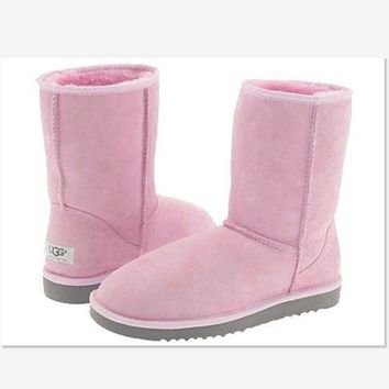 UGG Short boots antiskid warm lazy sheep fur simple ugg boots canister boots Fresh Pink-1