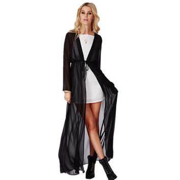 Causal Long Sleeve Chiffon Maxi Cardigan