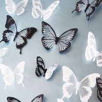 18pcs Black/White Crystal Butterfly Sticker Art Decal Home Decor Wall Mural DIY Decal