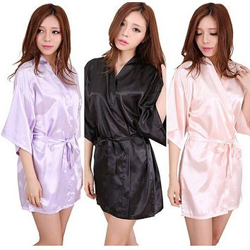 RB034 New Satin Bridesmaid Robes,White Faux Silk Wedding Bridal Sisters Dressing Gown/ Kimono Bathrobes