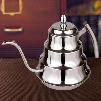Quality Drip Coffee Tea Brewing Pot Kettle Stainless Steel 1.2L