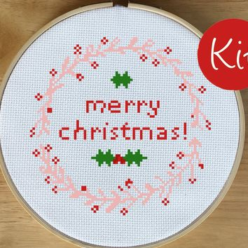 Modern Christmas Wreath Cross Stitch Kit