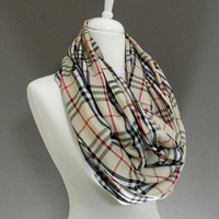 Plaid Pashmina Infinity Scarf, Circle Scarf, Scarves, Shawls, Extra Long Oversize Infinity Scarf, Spring - Fall - Winter Fashion