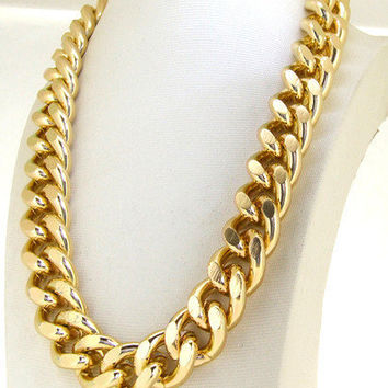 "Heavy Shiny Cut LIGHT GOLD Chain Chunky Curb Chain Necklace 24"" Spring  Clasp lariat necklace Fashion necklace"