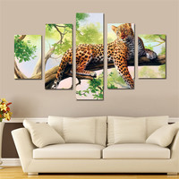 5 Panel Leopard Canvas Printings Wall Decor Pinturas Em Telas A Oleo Leopard Canvas Art Cuadros Wall Prints For Living Room