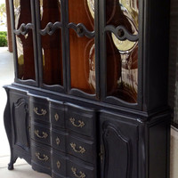 Vintage French Provincial Buffet and Hutch / China Cabinet
