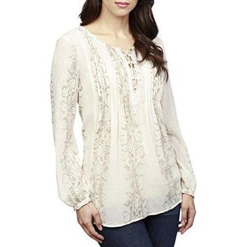 Lucky Brand Womens Lace-Up Metallic Top