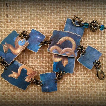 Sea Serpent - Sea Dragon - Dragon Bracelet - Dragon Jewelry - Fantasy Bracelet - Vintage Illustrations - Shrink Plastic Bracelet - Art