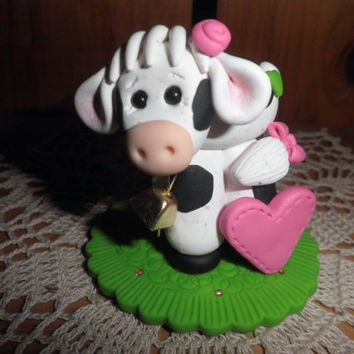"Polymer Clay Cow -Personalized ""Miss Bossy"" Cow Cake Topper/Gift (Pink/Green)"