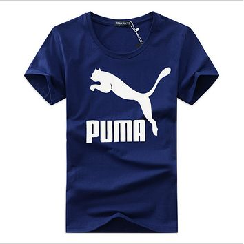Puma large size short-sleeved T-shirt male Korean loose crewneck half-sleeved cotton leisure youth T-shirt blue