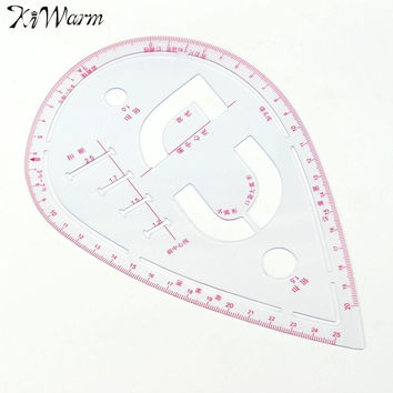 Plastic Sleeve Button Cutting Ruler Clothing Sample Pockets Collar Drawing Tailor Ruler Curve Yardstick Sewing Tools Accessory
