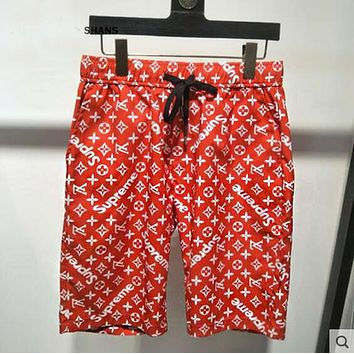 LV X Supreme Louis Vuitton Trending Women Men Stylish Personality Full Logo Print Sport Shorts Red I13590-1