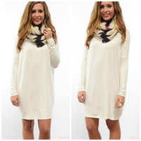 Ellington Off White Long Sleeve Piko Dress