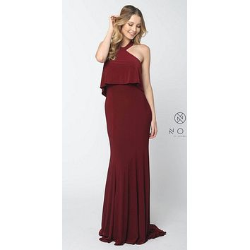 Halter Ruffled Long Prom Dress Open Back with Train Burgundy