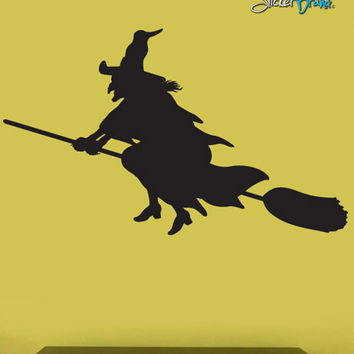 Vinyl Wall Decal Sticker Halloween Witch Flying Broom #393
