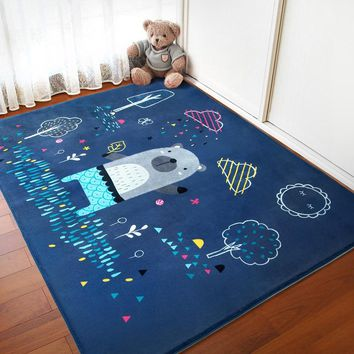 Infant Shining Cartoon Baby Play Mats Thicking Suede Carpet Living Room Children Bedroom Rugs Eco-friendly Blanket