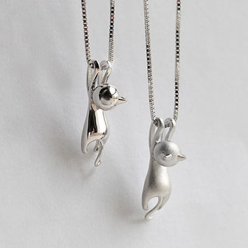 Silver Plated Necklace Tiny Cute Cat Pendants Odd Fancy Jewelry