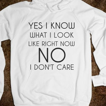 Yes I Know What I Look Like RIght Now No I Don't Care Hoodie