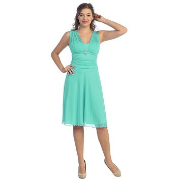 CLEARANCE - Short Mint Dress Knee Length Bridesmaid Chiffon Wide Straps (Size XL)
