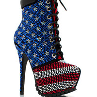 Freedom-Embellished-Lace-Up-Booties REDBLUE - GoJane.com