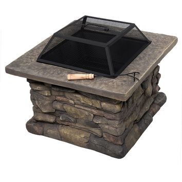 "New 29"" Outdoor Patio Firepit w/ Matte Steel Fire Bowl, Stone Base, Spark Screen"