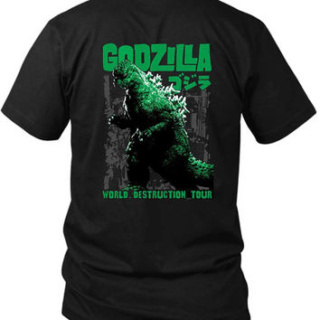 Godzilla 2 Sided Black Mens T Shirt