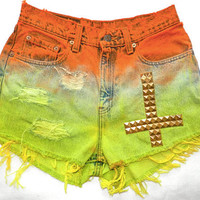 High Waisted TieDye Studded Shorts by Houseofmotherjoana on Etsy