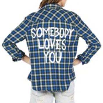 SOMEBODY LOVES YOU Vintage Flannel Shirt COOL COLORS (One of a Kind)