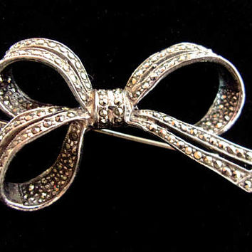 Marcasite Sterling Silver Ribbon Bow Brooch Pin, Vintage