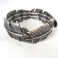 Banana Palm Stretch Bracelet - Antique Silver