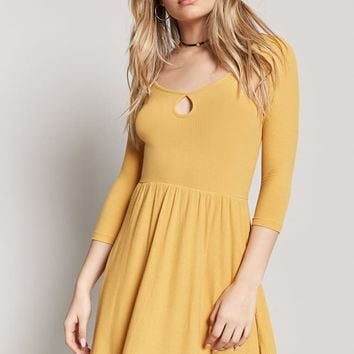 Heathered Cutout Skater Dress
