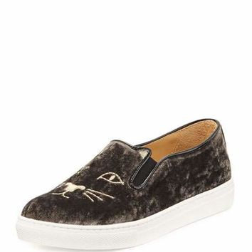 Charlotte Olympia Cool Cats Velvet Slip-On Sneaker, Anthracite