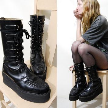 90s Vintage PLATFORM Boots LEATHER Calf/Knee High CREEPER Shoes Grunge Goth Cyber Club Kid Black Lace-up / Mens 8 / womens 10 - 10.5