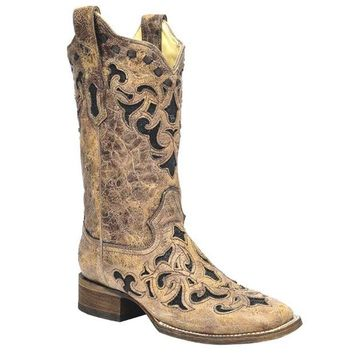 LMFYW3 Corral Brown Stingray Inlay Wide Square Toe Boots