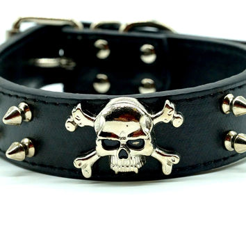 Wide Spiked Skull Leather Dog Collar