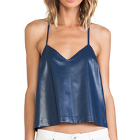 Line & Dot The Babe Faux Leather Cami in Navy