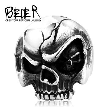 BEIER Skull Eye Evil Personlity Biker Stainless Steel Rings Man Punk Gothic Style Jewelry BR8-194 US Size