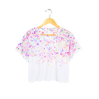 Micro Confetti - Splash Dyed Hand PAINTED Slouchy Scoop Neck Cropped Boxy Tee in Neon Rainbow - Women's S M L