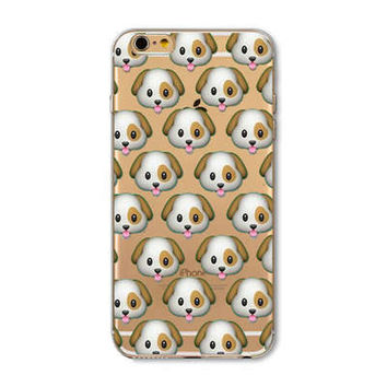 Facebook Puppy Dog Emoji Collage Painted Soft TPU Silicon Cases CoverCase For Apple iPhone 4 4S 5 5S SE 5C 6 6S 6 Plus 6S Plus