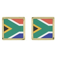 South Africa flag Gold Finish Cufflinks