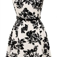 2LUV Women's Lace Print A-Line Skater Dress W/ Belt Ivory L(ID1730-A)