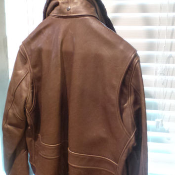 SCHOTT NYC FLT2  LEATHER JACKET SIZE XL or XXL FUR REMOVABLE COLLAR BARNEYS NY